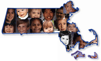 Outline of Massachusetts State with Collage of Children